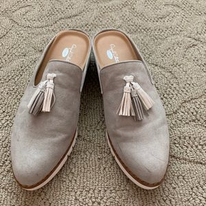 Dr Scholls gray suede like Mules Size 9